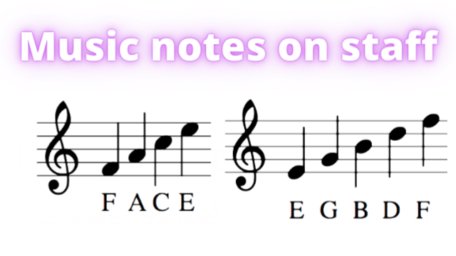 music notes on staff in treble clef